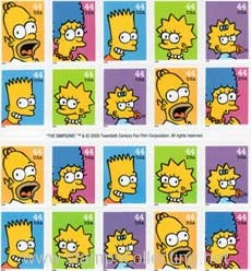 stamps dibujos simpsons serie tv televisiva