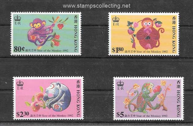 stamps chinesse lunar year in stamp collecting año lunar del mono
