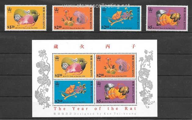chinese lunar year mouse stamps collection